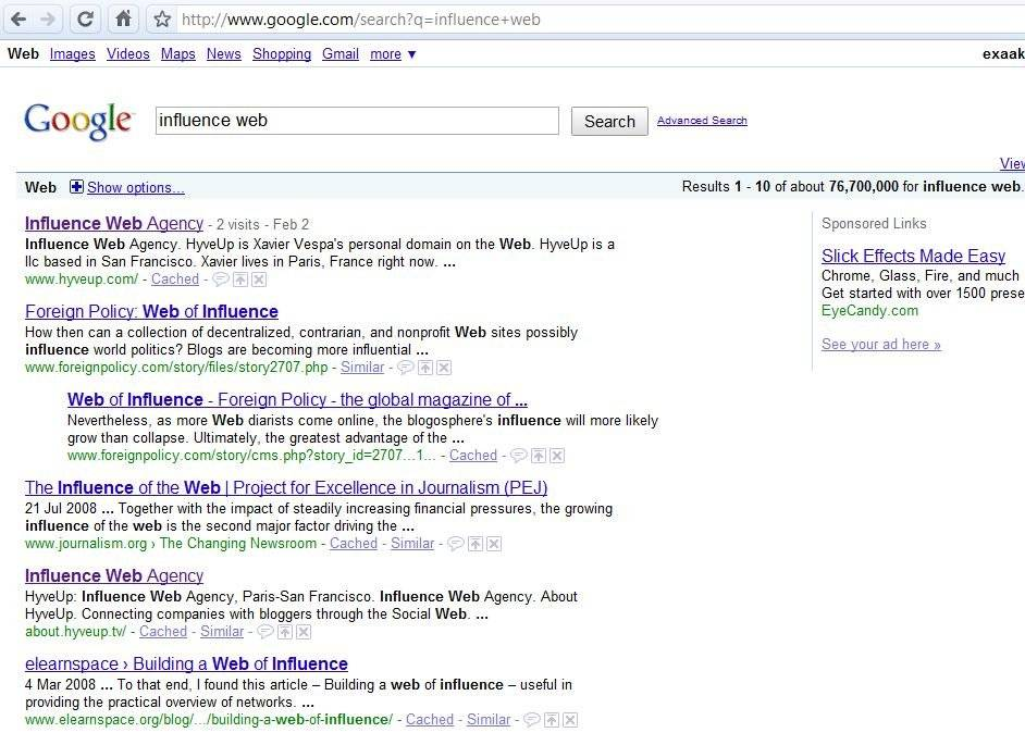 google influence web