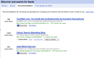 google reader recommended feeds