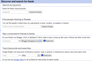 google reader search feeds