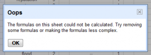 googledocs unable calculate formulas