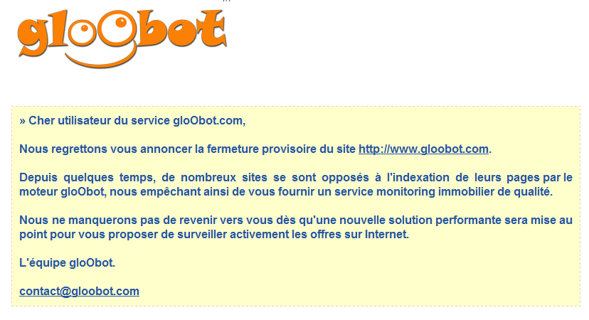 gloobot immobilier fermeture