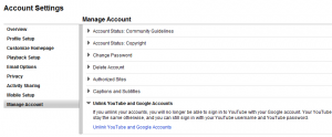 youtube unlink google account
