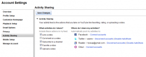youtube settings autoshare