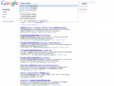 Google Instant doesn't show any results about Google Instant :)